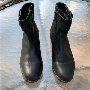 Cole Haan Short Black Boots side Zip Buckle Design